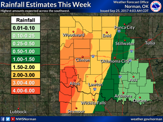 Predicted rainfall, week of Sept. 25