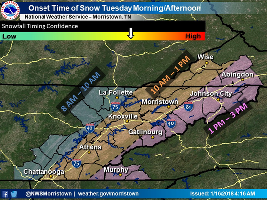Expected times of snow on Tuesday, Jan. 16, 2018.