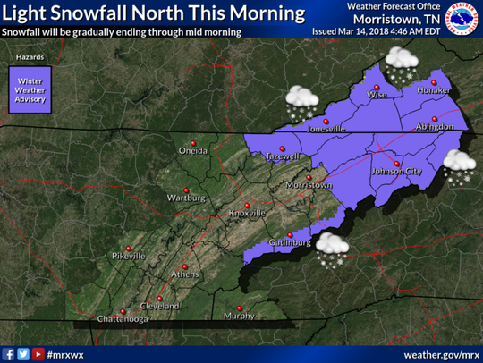 Snowfall forecast for East Tennessee on Wednesday,