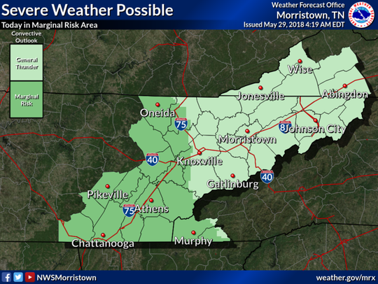 Possibility of severe weather on Tuesday, May 29, 2018.
