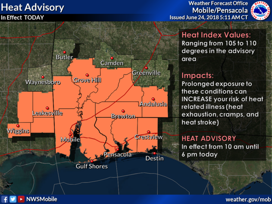 The National Weather Service in Mobile, Alabama, issued the advisory this morning for the western Florida Panhandle and much of south-central and southwest Alabama and southeast.