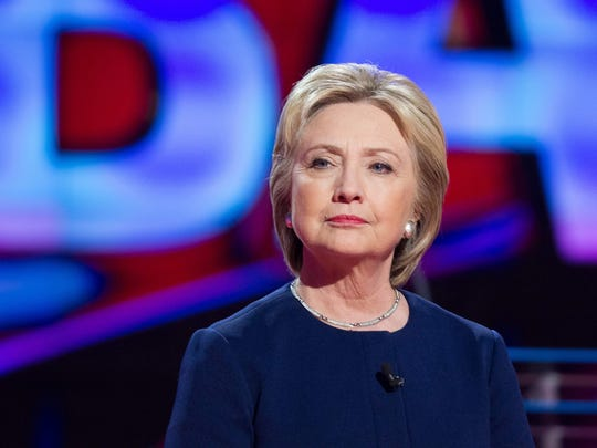 Hillary Clinton awaits the start of the Democratic