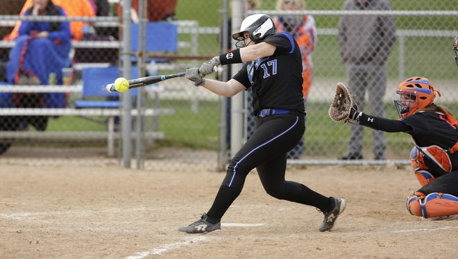 Oshkosh West's Alyssa Brewer connects for a hit during the Wildcats' 10-0 win over Appleton West on Tuesday. Brewer finished 3-for-4.