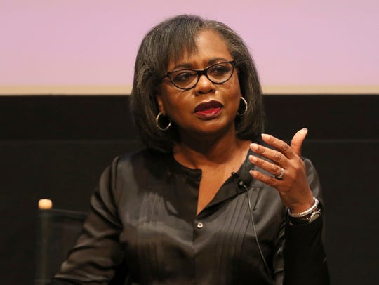 Anita Hill speaks at a discussion about sexual harassment