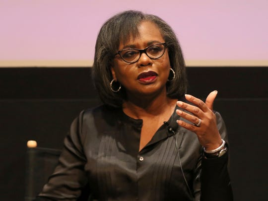 Anita Hill speaks at a discussion about sexual harassment and how to create lasting change from the scandal roiling Hollywood at United Talent Agency on Friday in Beverly Hills.