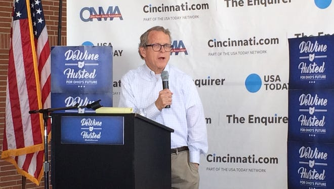Ohio Attorney General Mike DeWine speaks at the Ohio Soapbox. DeWine is the Republican candidate for governor.
