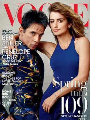 """Actor Ben Stiller, portraying Derek Zoolander, lwith actress Penelope Cruz from the film, """"Zoolander 2,"""" on the February 2016 cover of Vogue."""