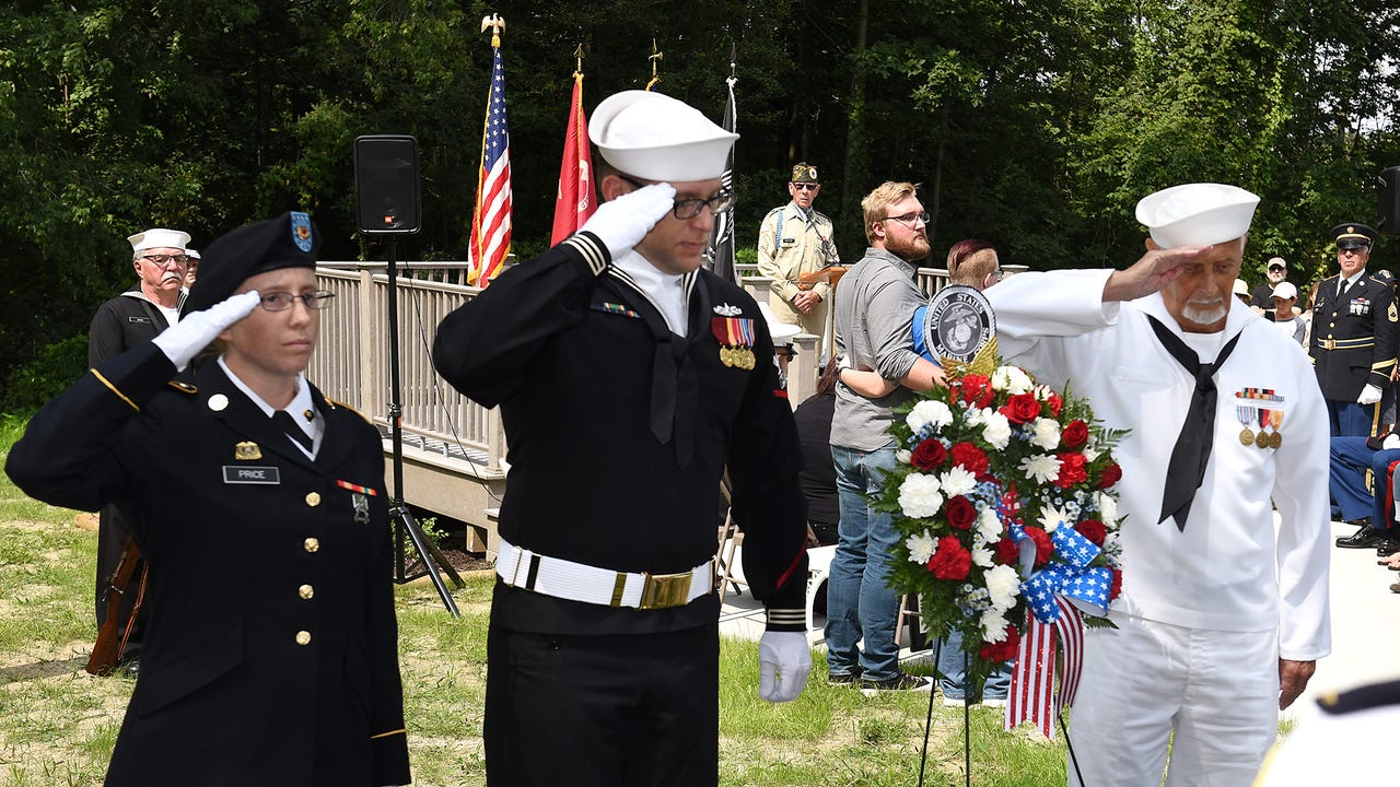 Cena, a Marine Corps K9, was laid to rest at South Lyon's Michigan War Dog Memorial -  with full military honors - on Aug. 26.