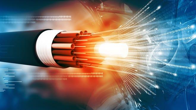 Fiber internet cable glowing red hot