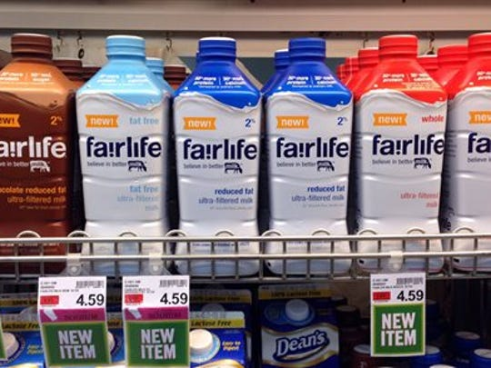 In this Friday, Jan. 23, 2015 photo, Fairlife milk products appear on display in the dairy section of an Indianapolis grocery store.