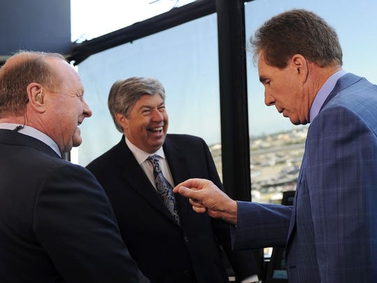 From left to right, Larry McReynolds, Mike Joy and