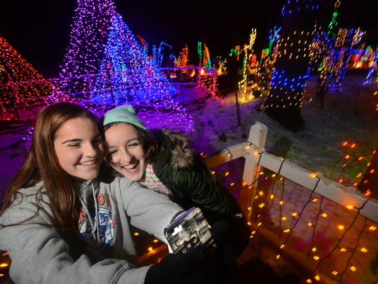 Jenna Madsen, 13, left, and Hannah Uhl, 14, of Manheim