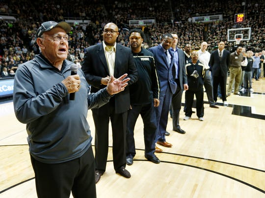 Former head coach Gene Keady and members of Purdue's team that won three consecutive Big Ten titles are introduced at halftime of the Boilermakers game against Nebraska Saturday, January 30, 2016, at Mackey Arena. Purdue defeated Nebraska 89-74.