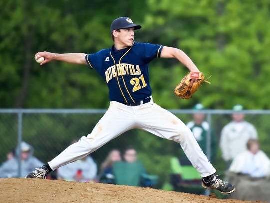 Derek Measell pitches for Greencastle during the Mid Penn baseball semifinals against West Perry on Tuesday, May 17, 2016 in Dillsburg, Pa. Greencastle defeated West Perry 8-2.