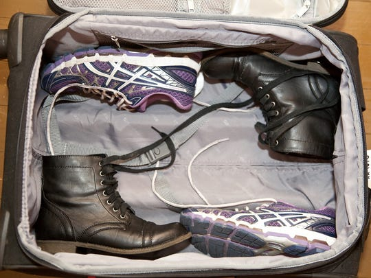 If you have bulkier shoes such as wedges, espadrilles or hiking boots, pack those first, on the side-walls of your suitcase, opposite each other.