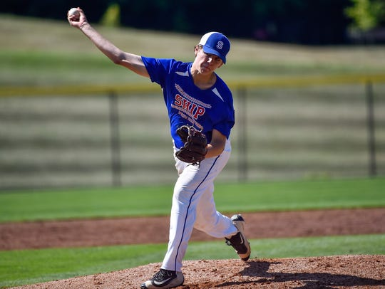 Ethan Stouffer pitches for Shippensburg during the