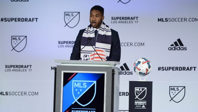 University of Vermont senior Brian Wright gets selected with the 20th pick by the New England Revolution during the 2017 MLS SuperDraft at the Los Angeles Convention Center.