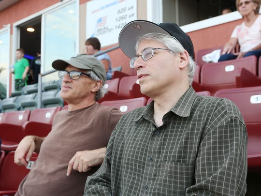 From left, Peter and Jonathan Rosenblum at Dutchess Stadium for the Renegades home opener in Fishkill on June 12, 2018. Jonathan's son, Simon Rosenblum-Larson is a pitcher for the Renegades.