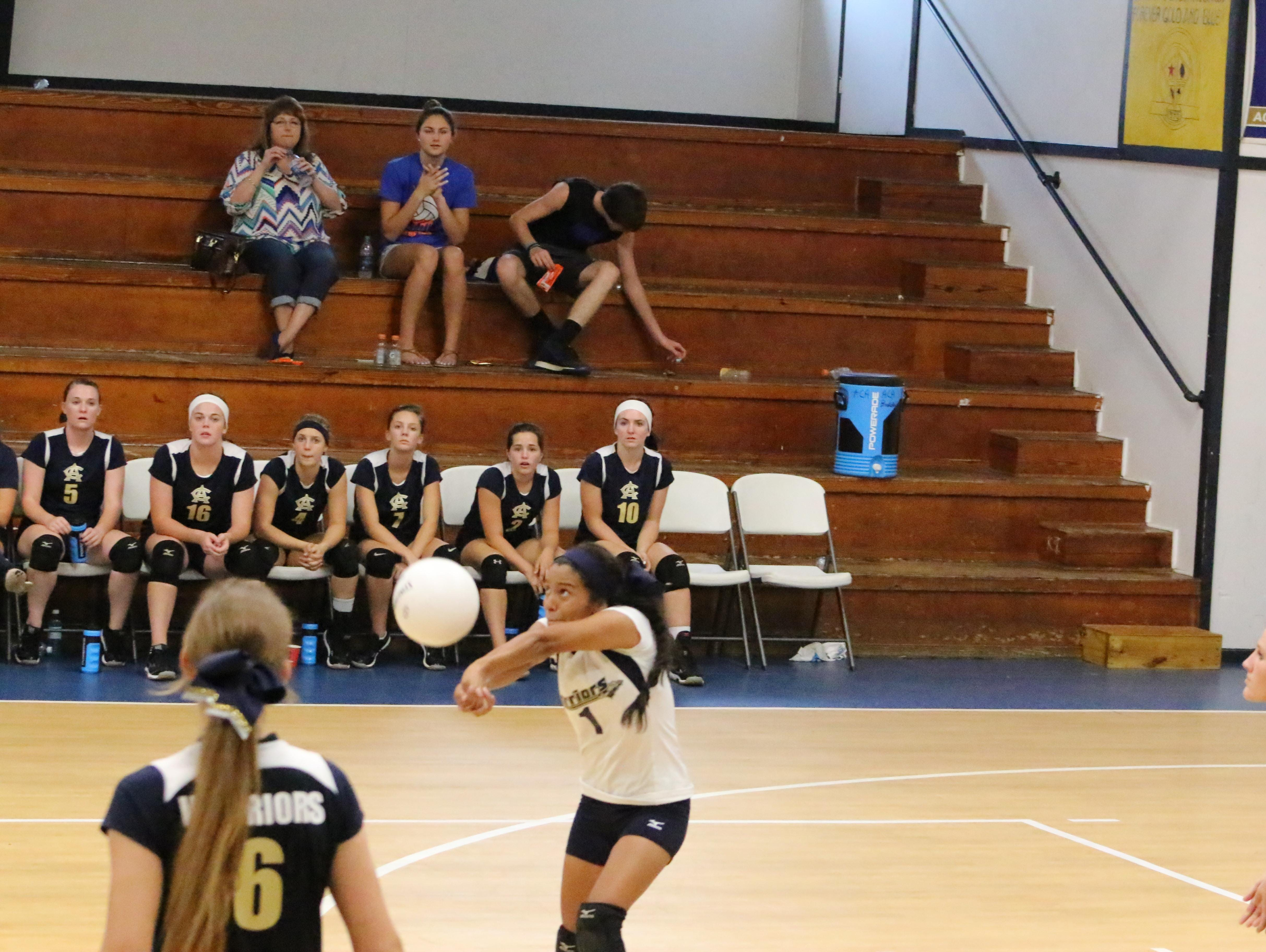 Aucilla Christian libero Natalie Vasquez goes for a dig in a recent game. The Warriors have volleyball for the first time and secured a first win over Tallavana Christian.