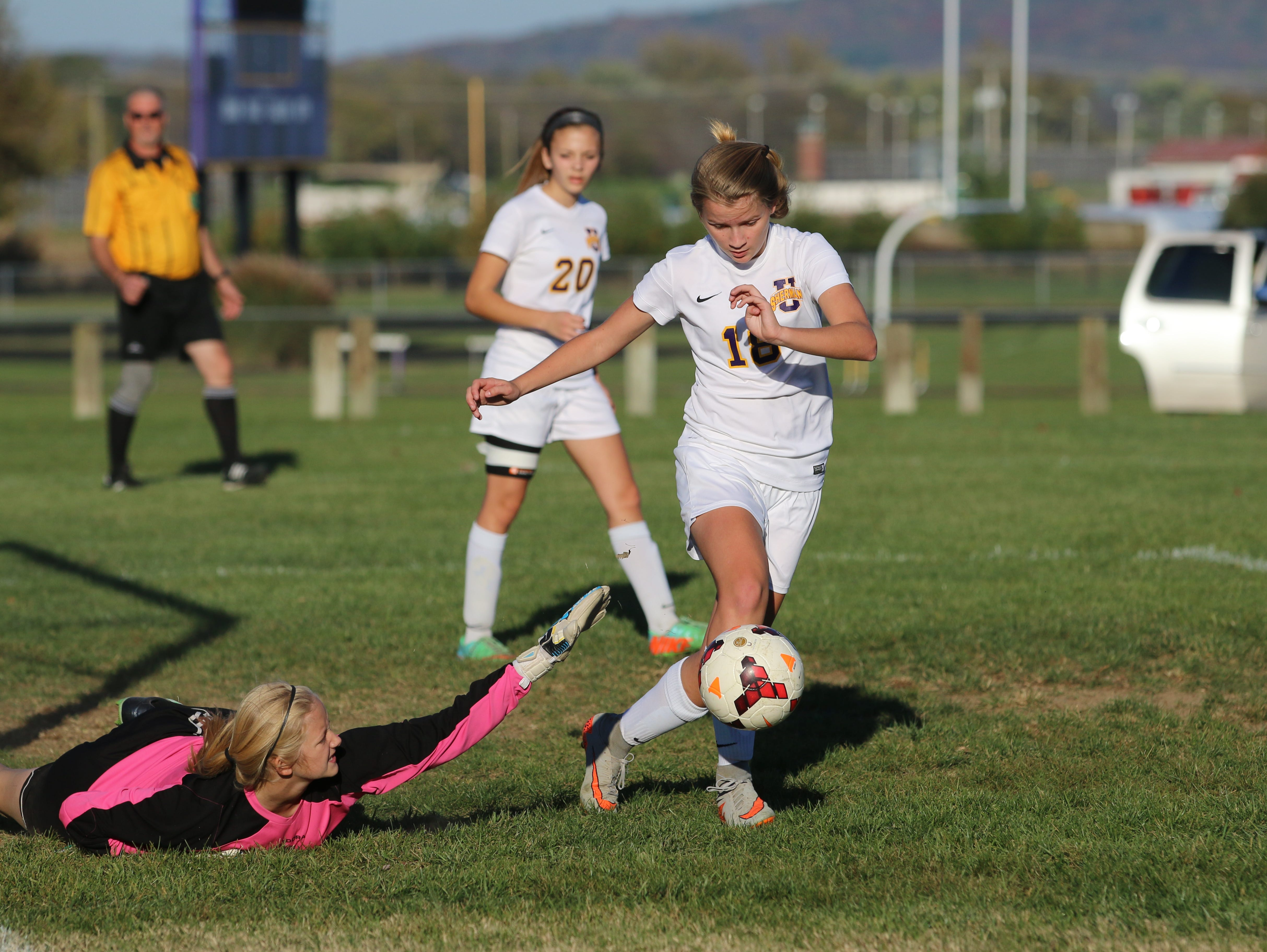 Unioto's Jayla Campbell regains control of the ball before scoring her first of three goals, Tuesday night. Campbell and the Shermans beat Miami Trace, 6-0.