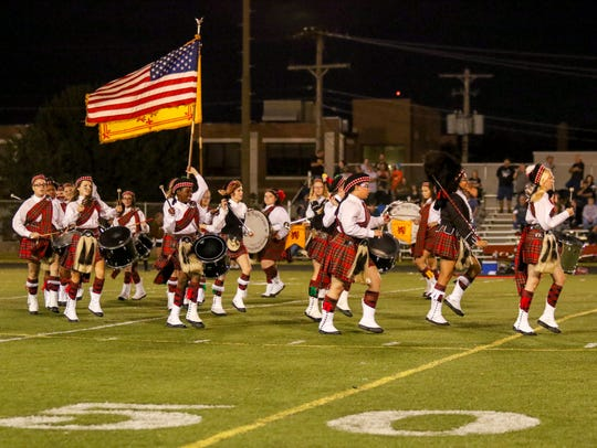 The Central High School Kilties perform at a Bulldogs