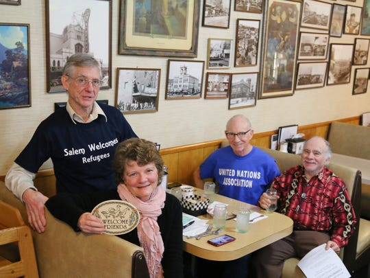 From the left, Jennifer Barischoff, Paul Wilson, Bill Hayden, and M. Lee Coyne, stopped by to promote a forum on refugee resettlement in Salem.