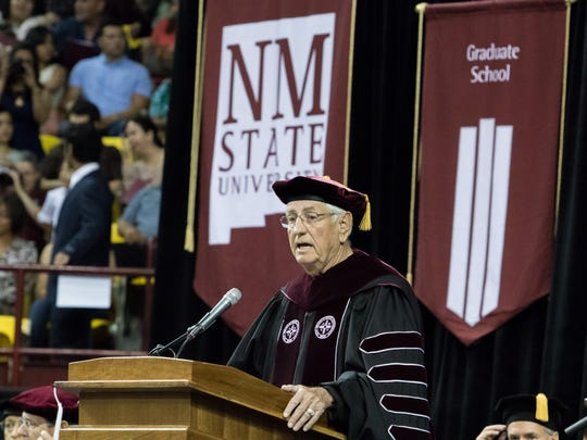 NMSU's Chancellor, Garrey Carruthers address the graduates at the start of the 2016 NMSU graduation ceremony held at the Pan American Center.