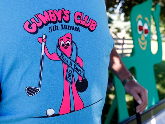"FILE - Rob ""Gumby"" Roseff wears a Gumby's Club T-shirt in 2016."