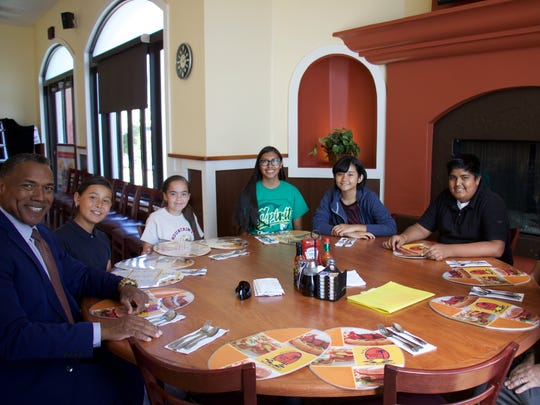 Students with perfect school attendance are recognized with lunch at The Broken Yolk in La Quinta.