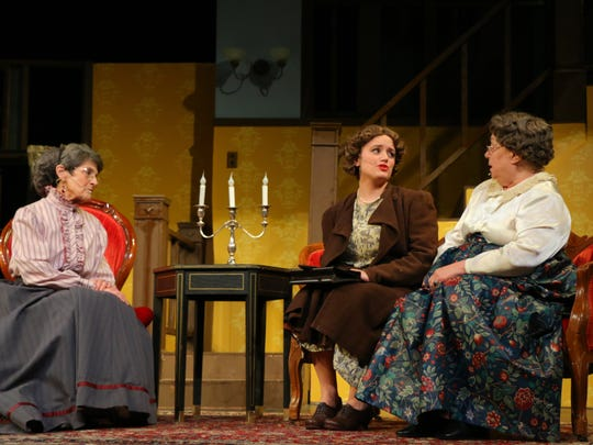 "Marsha Howard, Savanah Olshove and Nancy Fruman who play Martha Brewster, Elaine Harper and Abby Brewster talk about Mortimer in ""Arsenic and Old Lace"" from Waynesboro Players."