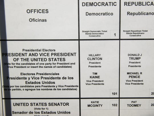 This Oct. 14, 2016 photo shows the names of Democratic
