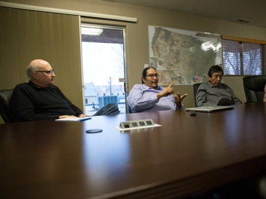 From left , Navajo Transitional Energy Company Chief Executive Officer Clark Moseley, spokesman Erny Zah, Governmental and External Affairs Director Steve Grey,  and Community Affairs Coordinator Melissa Kelly participate in an interview on Jan. 9 at the company's office in Farmington.