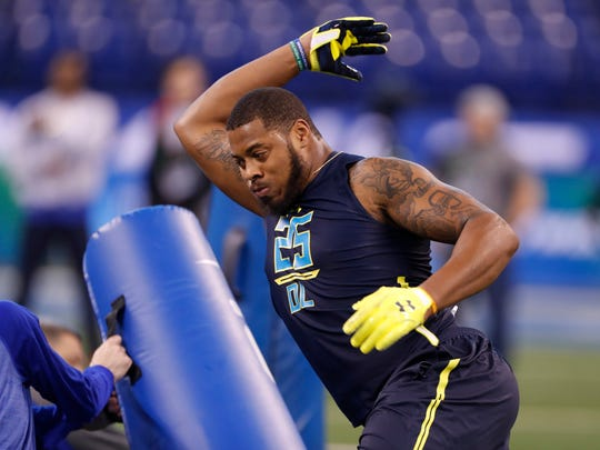 Nazair Jones performs drills during the NFL Combine in March in Indianapolis. The Seahawks drafted the 6-foot-5 defensive lineman in the third round.