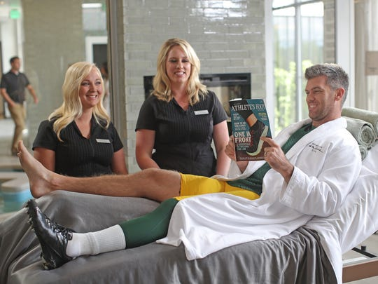 Green Bay Packers kicker Mason Crosby takes a break while shooting a commercial for Lodge Kohler on Friday, June 30, 2017, at the hotel in Ashwaubenon.