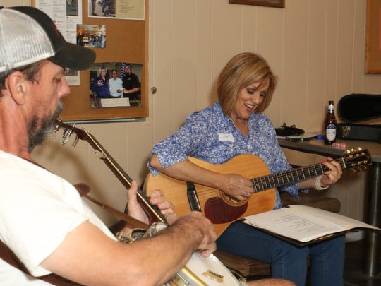 Randy Blackwood and Lori Jo Thomas participate in a weekly jam session Thursday, Aug. 17, at the VFW on South Browning Street.