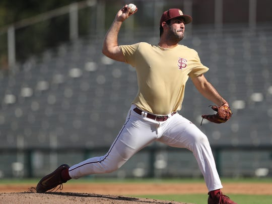 FSU's Will Zirzow pitches during their garnet and gold fall game at Dick Howser Stadium on Thursday, Oct. 12, 2017.