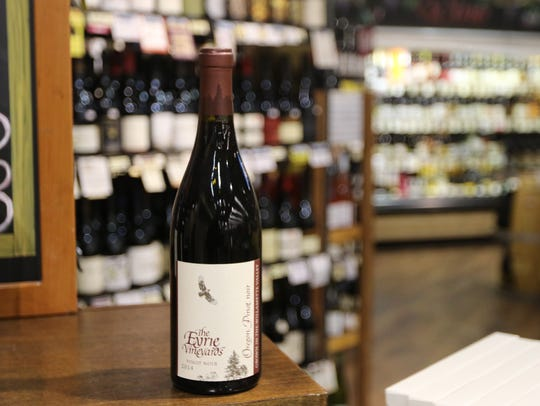 A bottle of 2014 The Eyrie Vineyards Pinot Noir at
