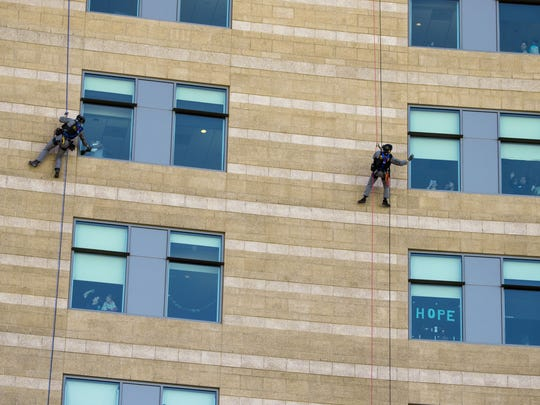 Phoenix Police Department Air Unit officers rappelled