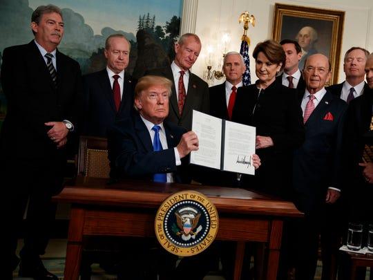 President Trump signs a Memorandum imposing tariffs on China on March 22, 2018.