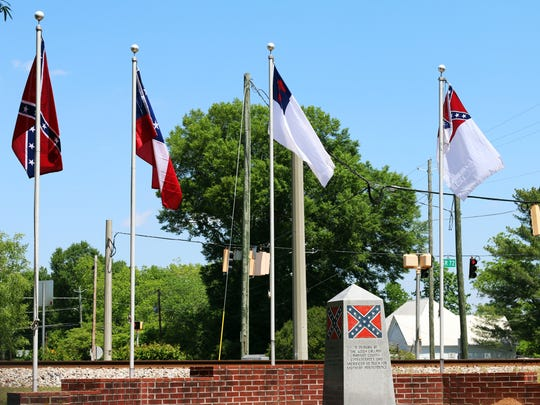 A memorial dedicated to Confederate soldiers from Madison County sits across the street from City Hall in Colbert, Georgia.