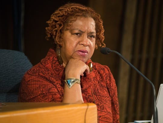 Wilmington City Council President Hanifa Shabazz listens during a budget hearing in the City Council Chambers.
