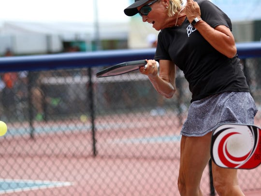 Sherri Steinhauer hits the ball during her skill 5.0