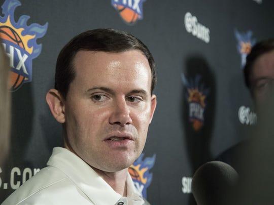 Phoenix Suns GM Ryan McDonough talks to media during