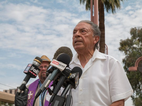 Ismael Delgado, father of 19-year-old- Melanie Delgado, spent nearly two years living in Phoenix's Shadow Rock United Church of Christ. He spoke at a June 15, 2018, press conference on behalf of migrants regarding the federal family separation policy in downtown Phoenix.