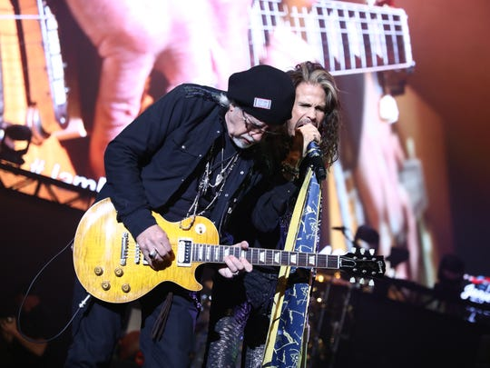 He and Aerosmith bandmate Brad Whitford perform at Tyler's GRAMMY Awards Viewing Party in Los Angeles on Feb. 10, 2019, for Janie's Fund, the frontman's charity to benefit girls who have dealt with abuse.