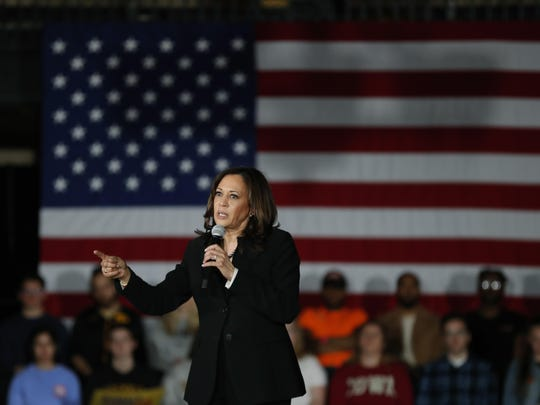 2020 Democratic presidential candidate Sen. Kamala Harris speaks during a town hall meeting April 10 at the University of Iowa in Iowa City, Iowa.