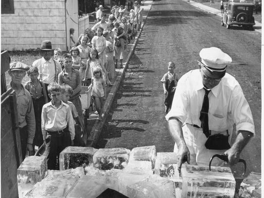 Lines like this were witnessed daily by deliverymen for The Star-Salvation Army Penny Ice Fund in the Depression.  This was the scene 7/14/40 at the corner of Vermont and Koehne Streets. Many children with wagons, carriages and carts waited to get a 25-pound block of ice for a penny to guard the scanty food supply at home and maybe bring some relief during hot summer nights.