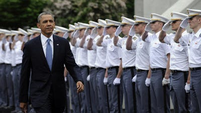 President Barack Obama arrives to deliver the commencement address to the U.S. Military Academy at West Point's Class of 2014, Wednesday, May 28, 2014, in West Point, N.Y.,