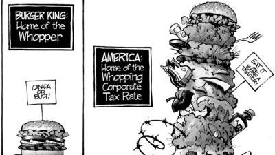 Political cartoon about America's corporate tax rate