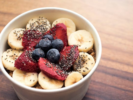 The Blue Harvest acai bowl from Beef Cake Fuel in West